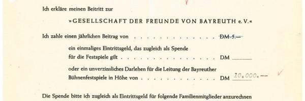 Le premier formulaire d'adhésion à la société des amis, 1951